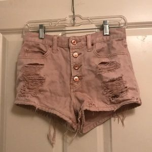 Abercrombie & Fitch dusty pink distressed shorts